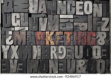 The word marketing written out in old letterpress blocks. - stock photo