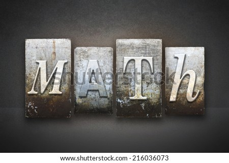The word MATH written in vintage letterpress type - stock photo