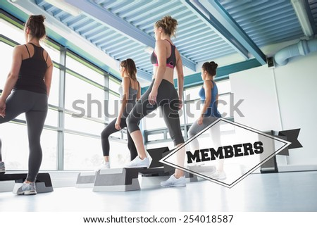 The word members and four women at aerobics against badge - stock photo