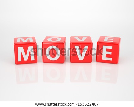 The Word Move out of red Letter Dices - stock photo