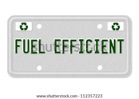 The word MPG on a gray license plate with recycle symbol isolated on white, Fuel Efficient Car  License Plate - stock photo
