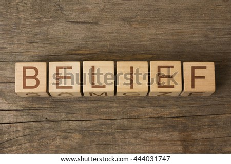 the word of BELIEF on wooden cubes - stock photo