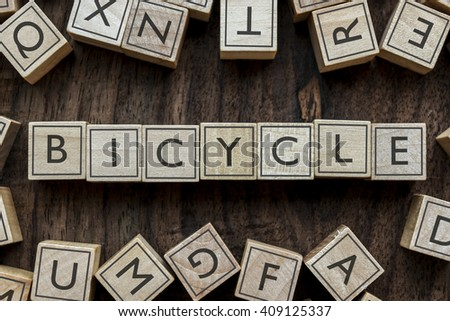 the word of BICYCLE on building blocks concept - stock photo