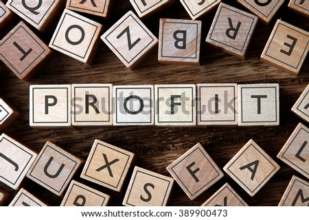 the word of PROFIT on building blocks concept - stock photo