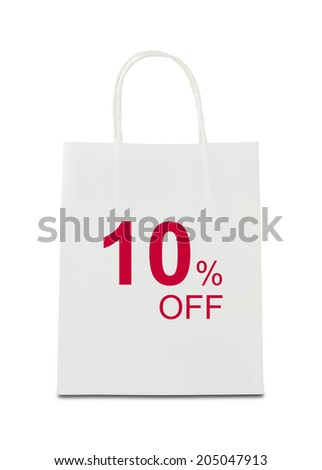 The word 10% off on shopping bag - stock photo