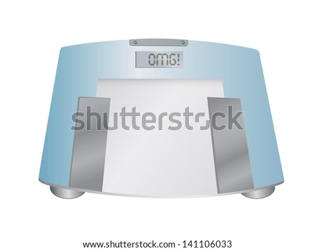 The word OMG on a weight scale, illustration design over white - stock photo