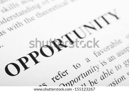 The word Opportunity shot with artistic selective focus. - stock photo