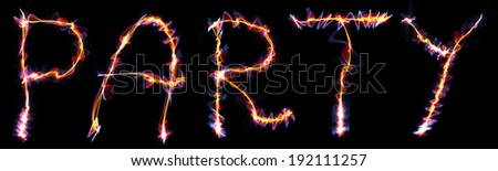 The word Party written with a Plasma like style. Digital illustration. - stock photo