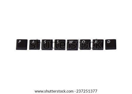The Word Password written with single computer keys isolated on white background - stock photo