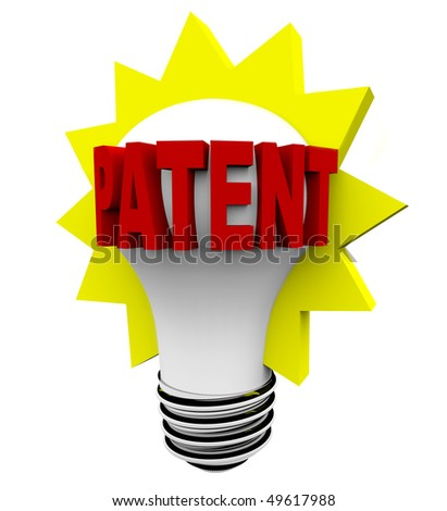 The word Patent in red letters on a light bulb - stock photo