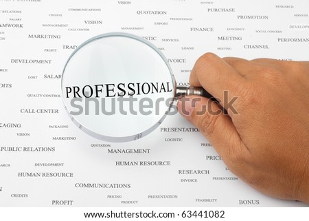 The word PROFESSIONAL is magnified. - stock photo