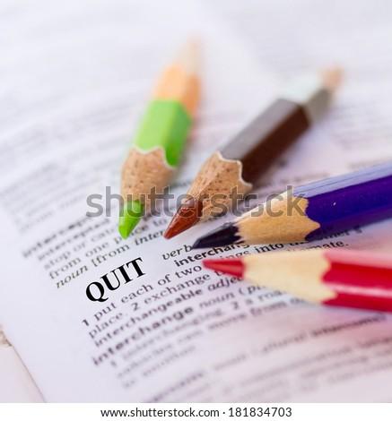 The word QUIT - stock photo