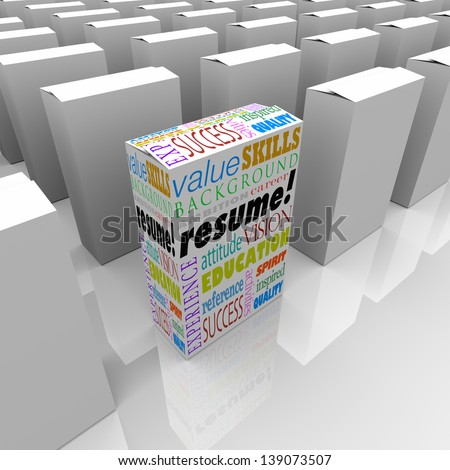 The word Resume and job or interview related terms such as skills, education, background, experience, ambition, career and reference to help you get hired for a position - stock photo