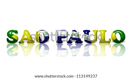 The word Sao Paulo in the Brazil flag colors isolated on white - stock photo