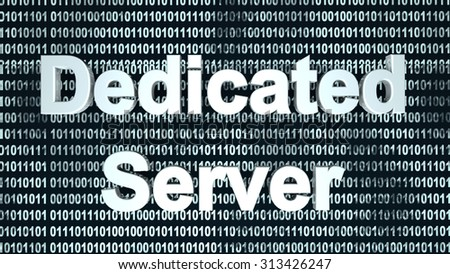 The word server  in front of a binary background symbolizing the digital code of software.  - stock photo