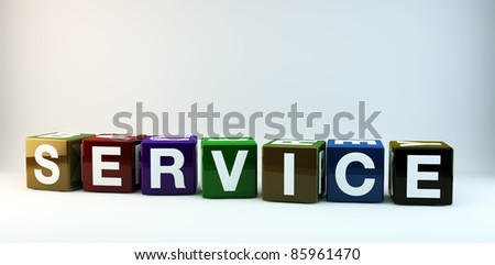 The word SERVICE in colorful cubes. - stock photo
