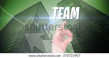 The word solution and businesswoman touching invisible screen against stocks and shares - stock photo