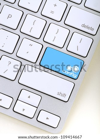 the word solution in a blue computer key. Stock image available in high resolution./Solution key concept - stock photo