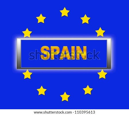 The word Spain and flag of Europe . - stock photo