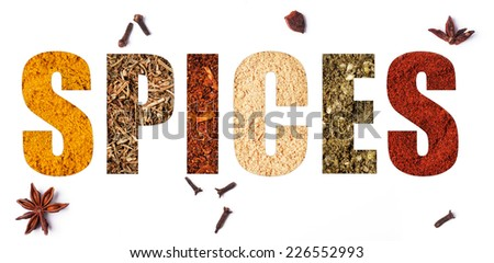 The word spices with mix of spices over white - stock photo
