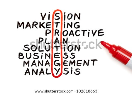 The word Strategy highlighted with red marker in a handwritten chart - stock photo
