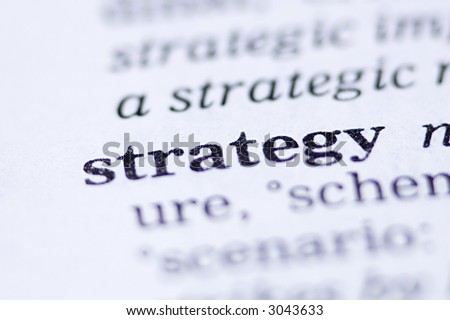 the word strategy written in a thesaurus - stock photo