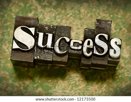 "The word ""Success"" done in old letterpress type. - stock photo"