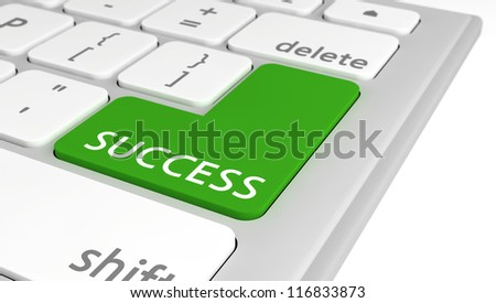 The word Success on a green computer key on a keyboard, with selective focus. - stock photo