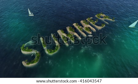 The word summer in the form of tropical islands with sandy beaches and palm trees (3D illustration) - stock photo