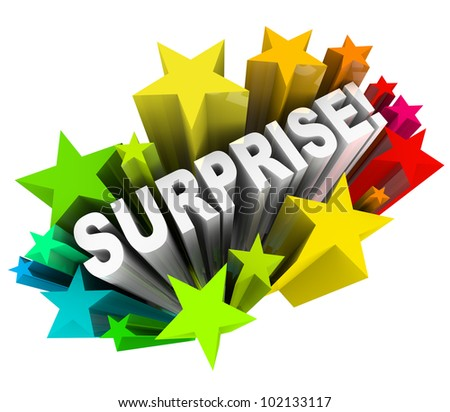 The word Surprise in 3d letters shooting out of a burst of colorful stars or fireworks illustrating the excitement of fun news or information - stock photo