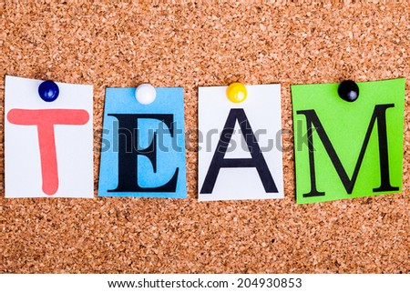 The word TEAM in cut out magazine letters pinned to a cork notice board - stock photo