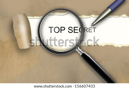 The word  top secret appearing behind torn brown paper. - stock photo