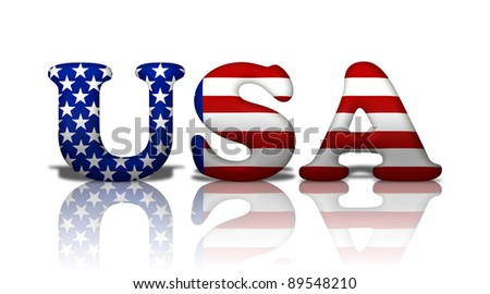 The word USA in the American flag colors isolated on white - stock photo