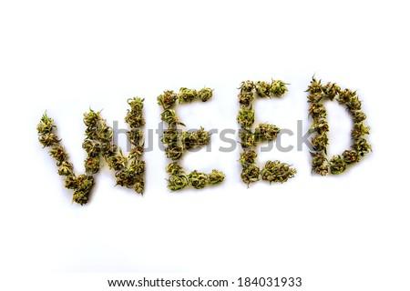 The word Weed written with marijuana buds - stock photo
