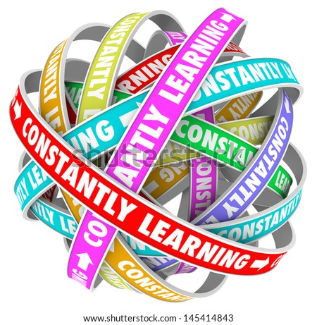 The words Constantly Learning on several colored loops going on for infinity to illustrate continuous growth, education and training to develop skills and improve - stock photo