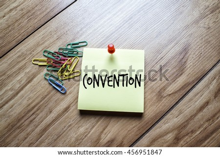 The words Convention written on a sticky note  - stock photo