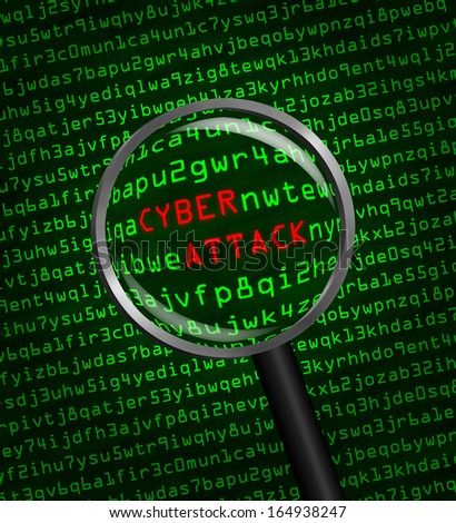 The words Cyber Attack revealed in computer machine code through a magnifying glass  - stock photo