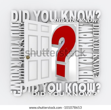 The words Did You Know surround a door unlocking and opening to reveal a giant red question mark representing the opportunity to learn new things and acquire new knowledge, facts and trivia - stock photo