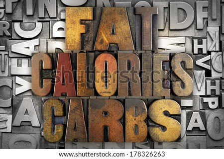 The words FAT CALORIES CARBS written in vintage letterpress type - stock photo
