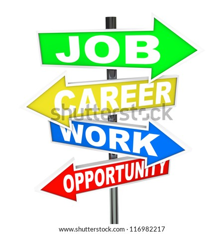 The words Job, Career, Work and Opportunity on colorful road signs with arrows pointing to new opportunities to advance your profession or working life to achieve success - stock photo