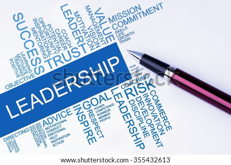 The words Leadership text cloud with a pen on isolated white background. Business concept text cloud. - stock photo