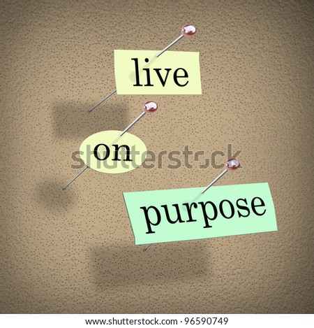 The words Live on Purpose cut out on pieces of paper and pinned to a bulletin board to remind you to live a determined, driven, purpose-filled life - stock photo