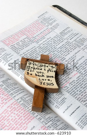 The words of Jesus in red and His promise to His followers - stock photo