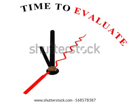 The words Time to Evaluate on an ornate white clock - stock photo