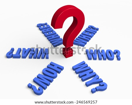 """The words,  """"WHO?"""", """"WHAT?"""", """"WHERE?"""", """"WHEN?"""", """"HOW?"""", and """"WHY?"""" in blue radiate outwards from a large, red question mark.  Isolated on white.  - stock photo"""