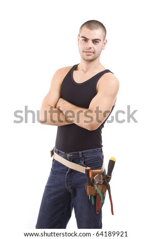 the working man, isolated in white - stock photo