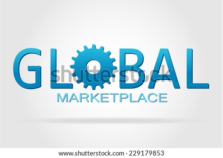 The world and the global marketplace isolated on a white background. - stock photo