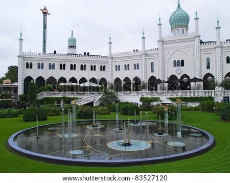 The world famous amusement park Tivoli Gardens, Copenhagen Denmark - stock photo