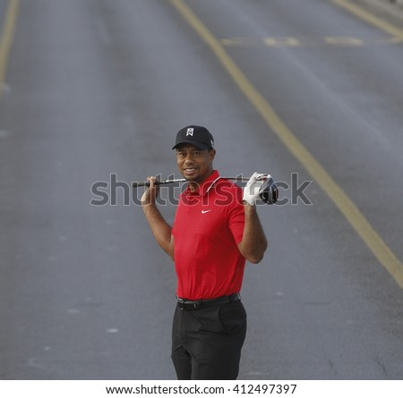 The world-famous golfer Tiger Woods has shot to the European continent in the Bosphorus Bridge. Istanbul, Turkey, 5 November 2015 - stock photo
