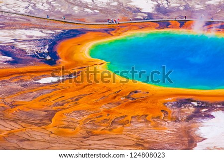 The World Famous Grand Prismatic Spring in Yellowstone National Park - stock photo